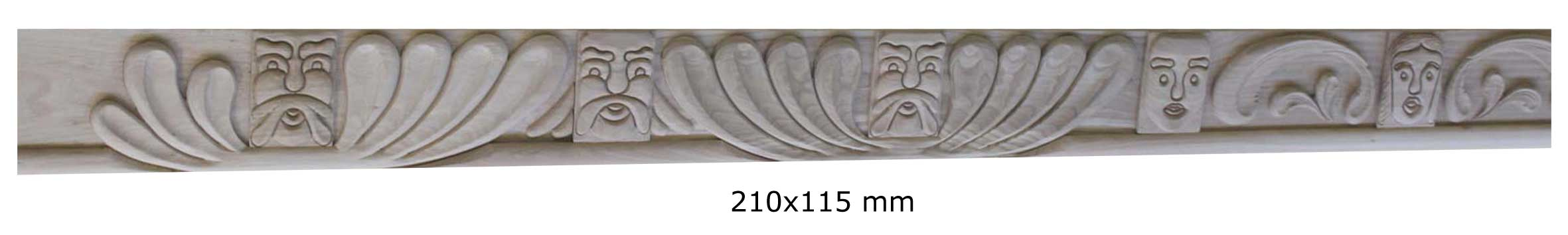 Ornamental moulding with 13 masks in solid oak