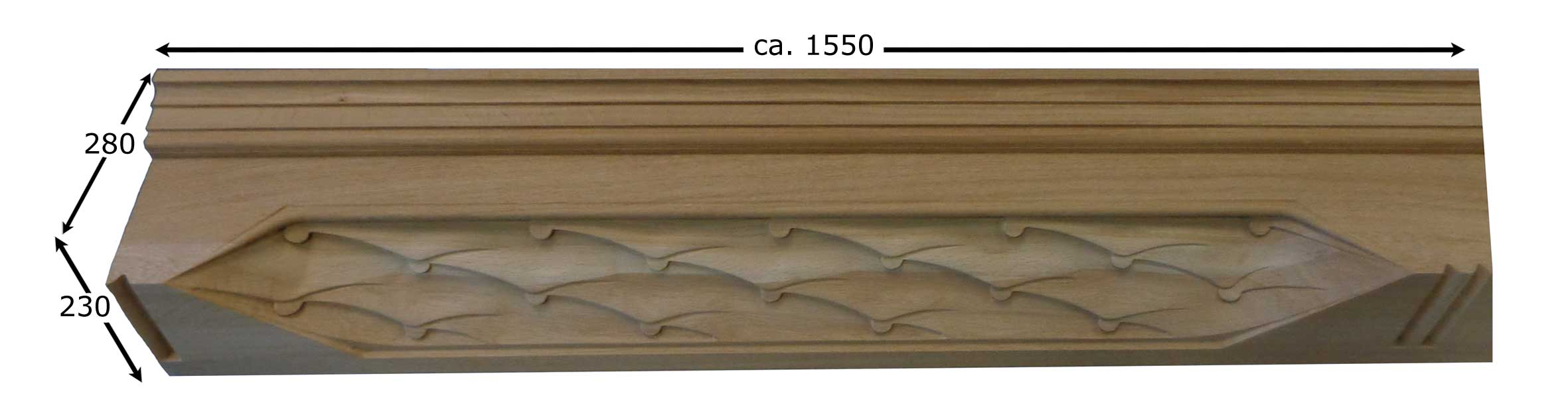 Detail of breast profiles in solid oak