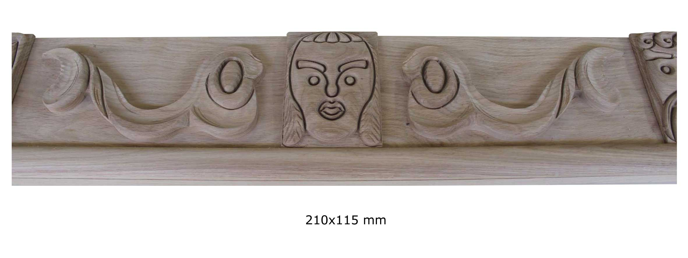 Detail of ornamental moulding in solid oak